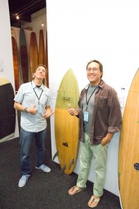 The Curators of the exhibit: Michael Stewart of Sustainable Surf and Barry Haun of the Surfing Heritage and Cultural Center.